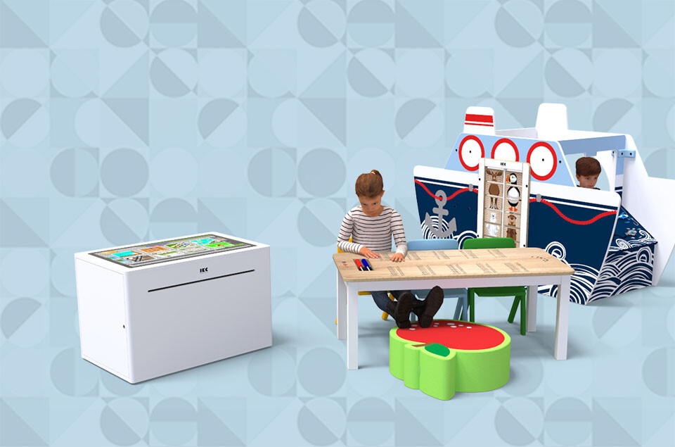 this image shows a kids corner with interactive play table and play house