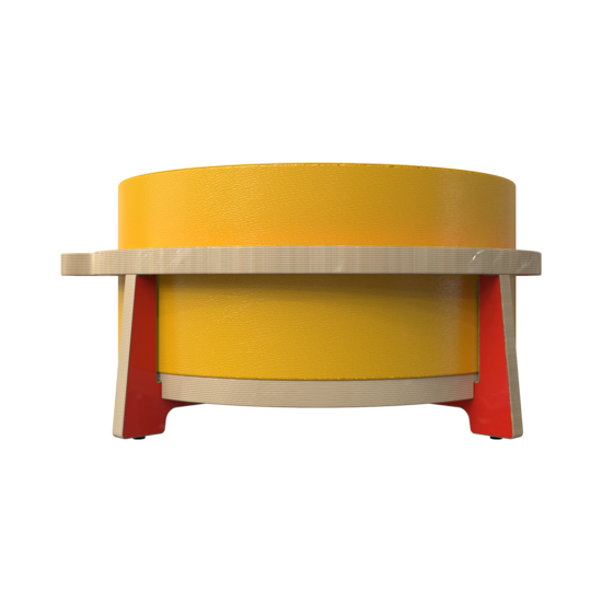Houten krukje voor kinderen ontworpen voor ronde zachte zit elementen genaamd Soft Play   IKC Kindermeubels Softplay
